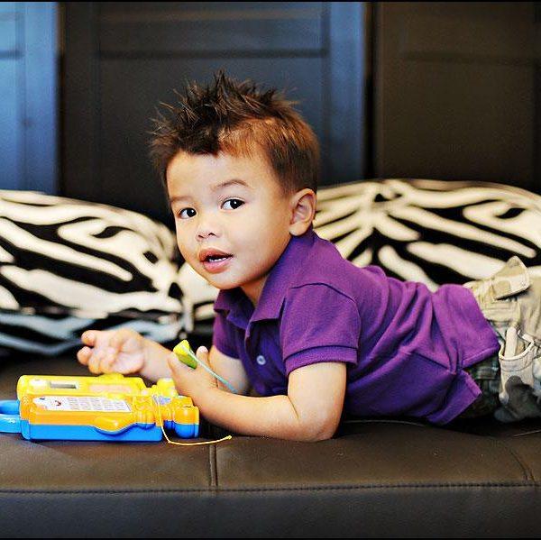 Ethan looks cute in purple